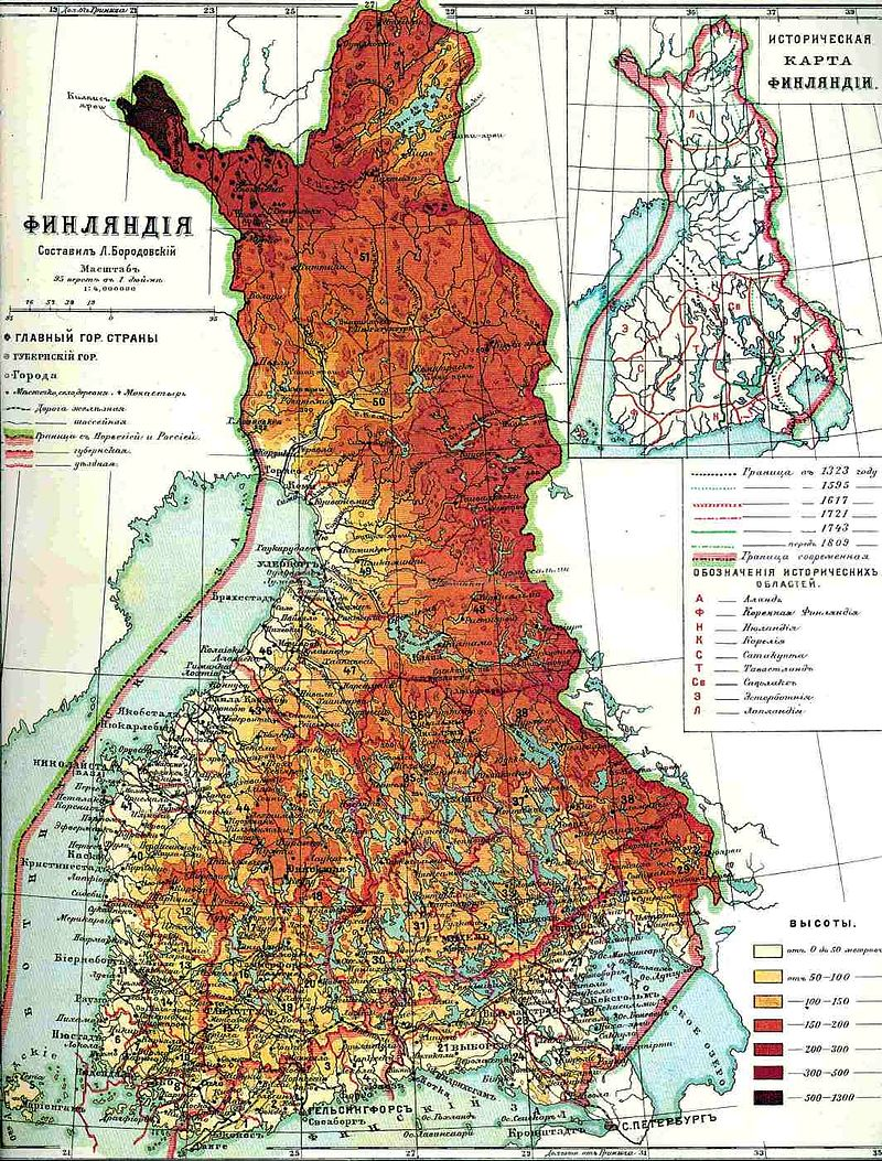 A Finn Nagyhercegség térképe: az új állam területe megegyezett az önálló Finnország területével. Wikipedia