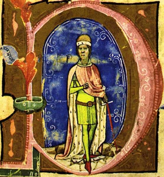 IV. István, a Képes Krónika iniciáléjában, hercegként ábrázolva