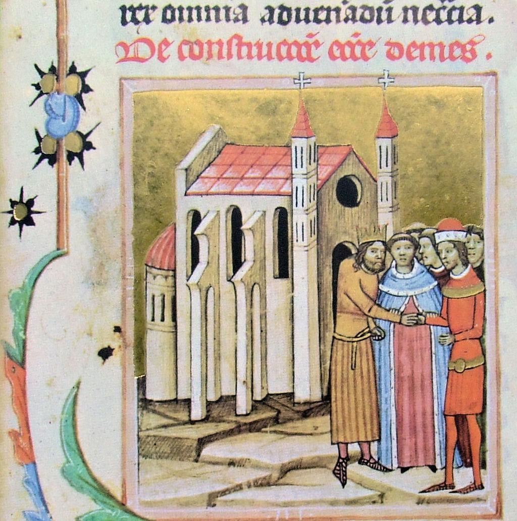 Könyves Kálmán király és Álmos herceg kibékülnek a dömösi prépostság megalapításánál (wikipedia)