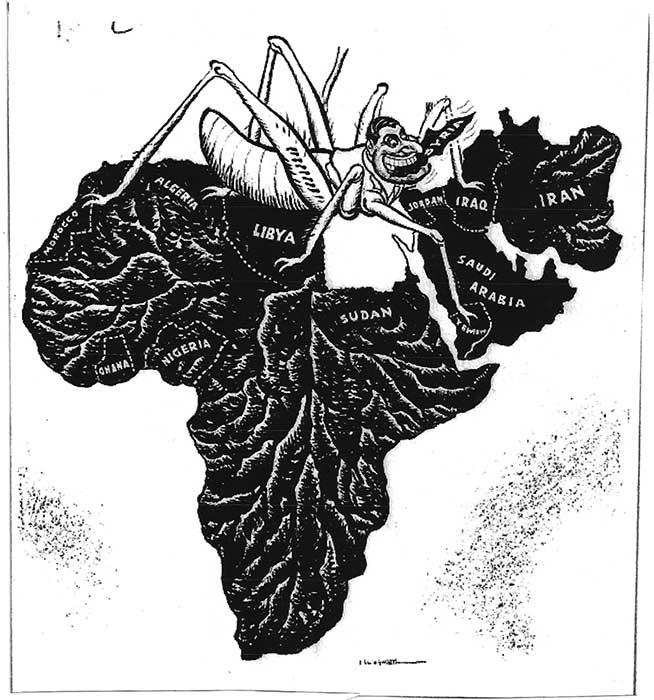 Pánarabizmus terjedéséről szóló karikatúra. Forrás:llingworth, 'The Daily Mail', February 5, 1958