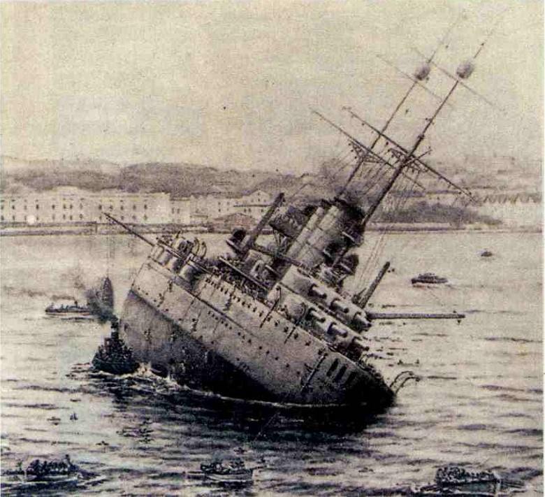 A süllyedő Viribus Unitis Póla kikötőjében