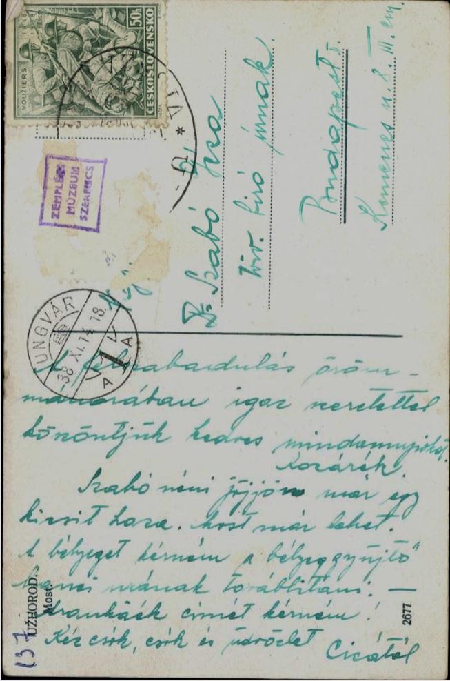 Képeslap Ungvárról, 1938. november 14. Zempléni Múzeum, Szerencs, 0199576