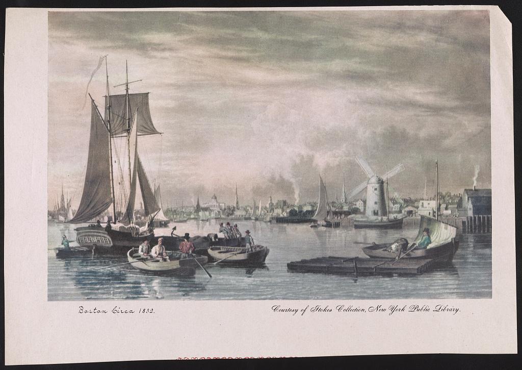 Boston 1832 körül. Kép forrása: Library of Congress, Fotográfiai Gyűjtemény: LC-DIG-ppmsca-23086