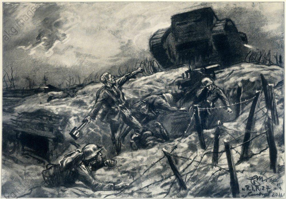 Német katona kötegelt kézigránátot hajít egy brit tankra az 1917-es cambrai-i csatában. Erich Mattschaß festménye, 1928. Forrás