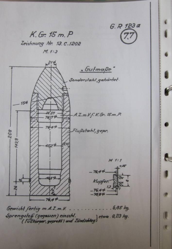 A K. Gr. 15 m. P német páncélgránát keresztmetszete. Forrás