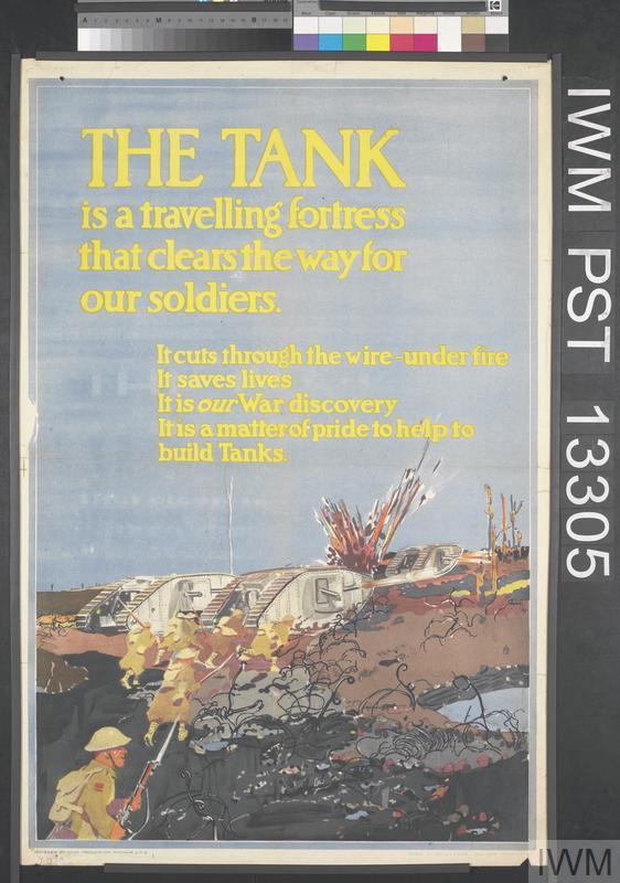 Brit propagandaposzter a tankok népszerűsítésére. Forrás: Imperial War Museum, Art.IWM PST 13305