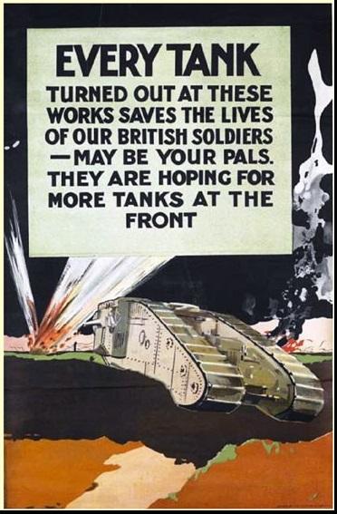 Brit propagandaposzter a tankok népszerűsítésére. Forrás