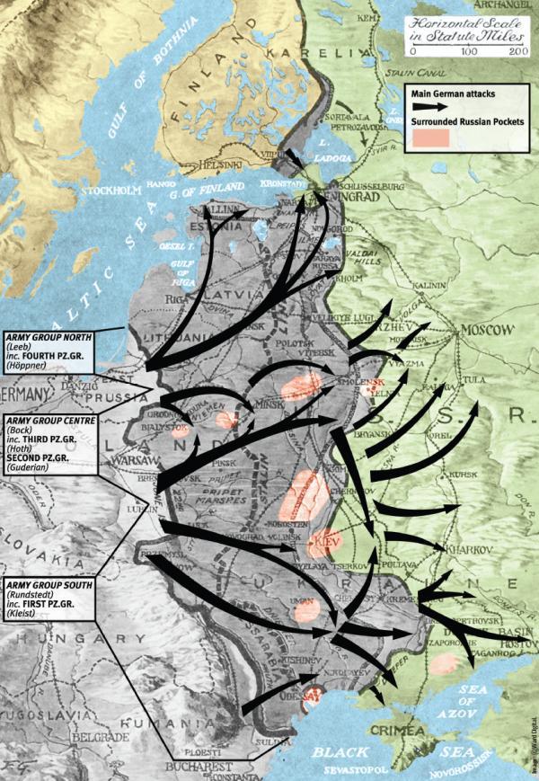 A Barbarossa hadművelet, jelölve a négy páncéloscsoport mozgása, és a legjelentősebb katlancsaták. (Forrás)