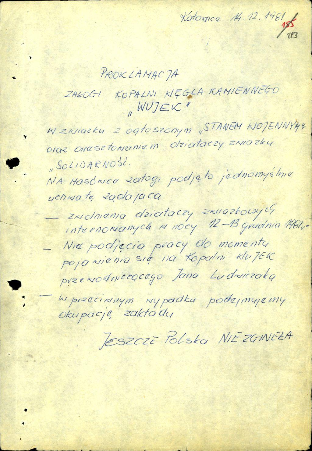 A hatóságok képviselőinek átnyújtott lista a bányászok követeléseiről (Forrás: IPN archívum)