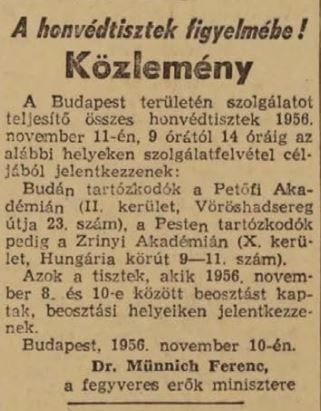 Münnich felhívása a sajtóban, Népszabadság 1956. november 11.