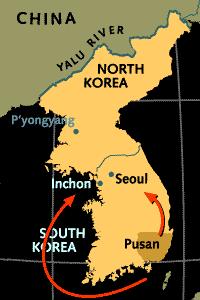 Az incsoni partraszállás térképe. Forrás: defence.pk