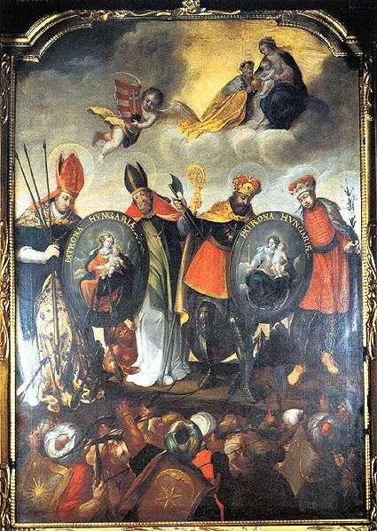 Patrona Hungariae-oltárkép magyar szentekkel, 1642. Győri bencés templom