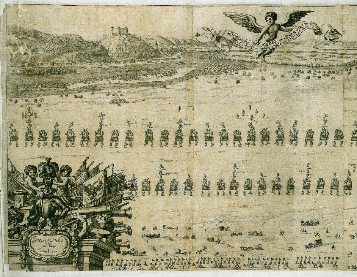 A keresztény csapatok tábora Pozsonnyal szemben, 1683. Digitales Archiv Marburg, HStAM WHK 6/01