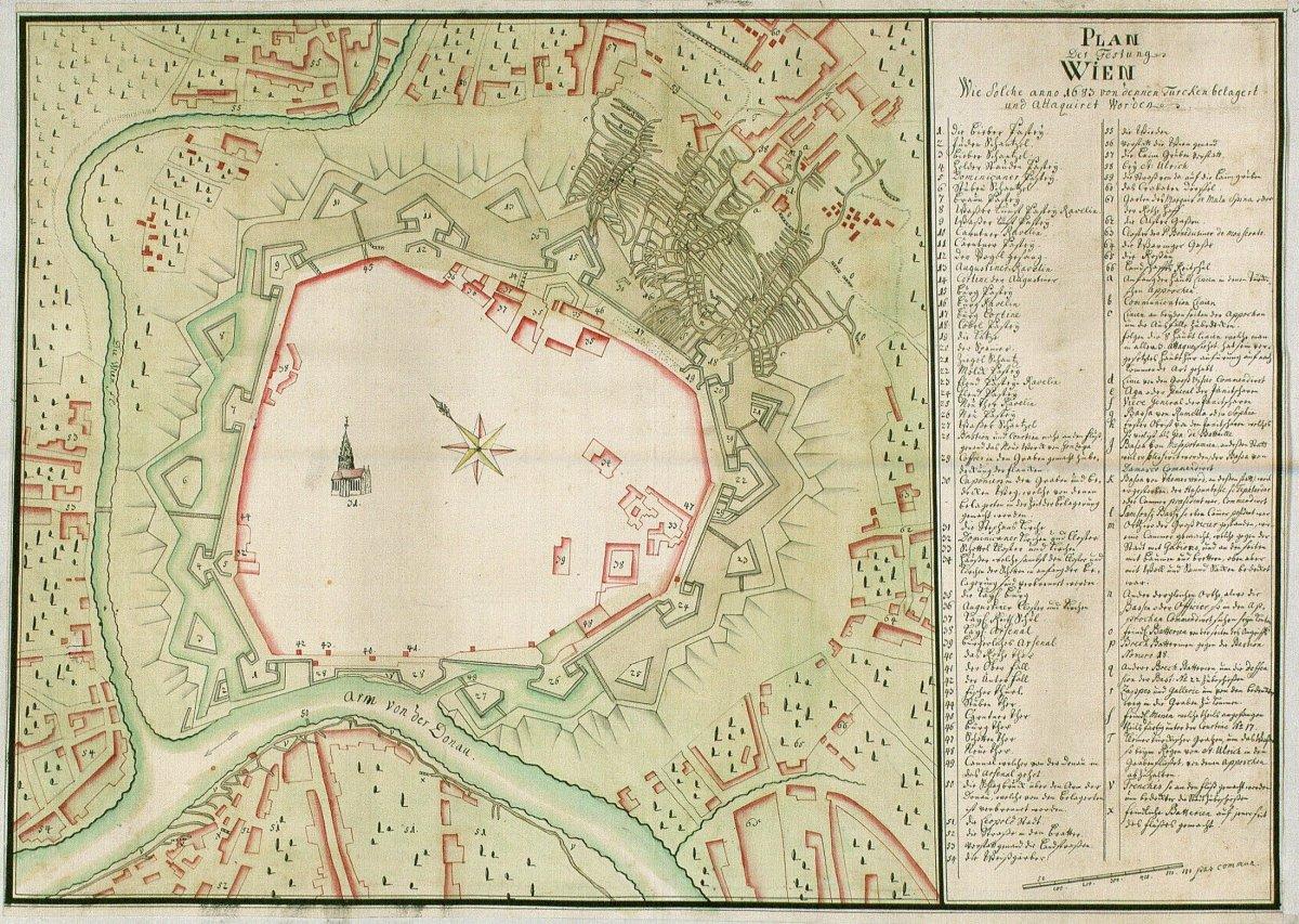 Bécs erődítésének térképe az 1683-as török ostrom idejéből Digitales Archiv Marburg, HStAM WHK 6/03a