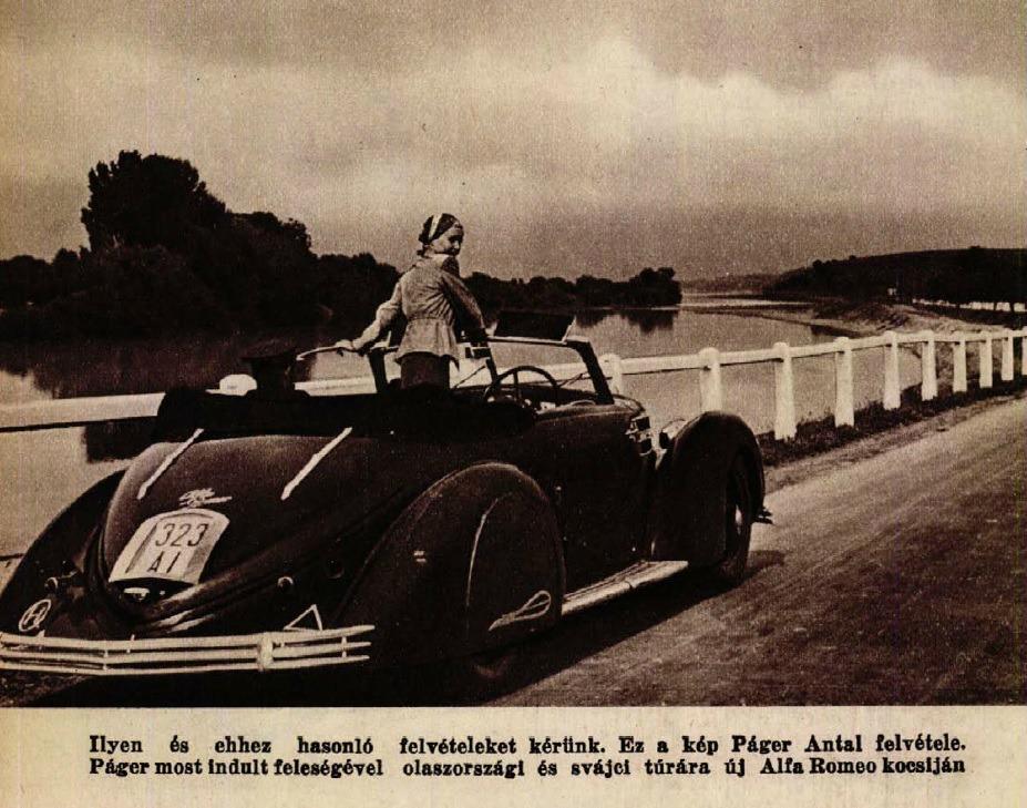 """""""Dolce vita"""" - Komár Juliska és az Alfa Romeo (Színházi Élet,1938 35.sz.)"""