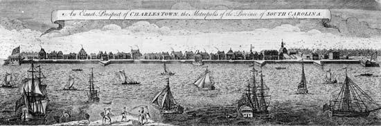 Charleston látképe 1762-ben