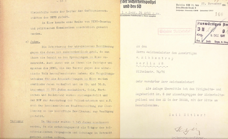 Reinhard Heydrich Joachim von Ribbentropnak küldött levele a gyilkosságokról. A szövegben az NKVD-s robbantás jelenik meg a gyilkosság indoklásaként, s a megtorlásból legyilkoltak számát is kendőzetlenül közli. Deutsches Historisches Museum