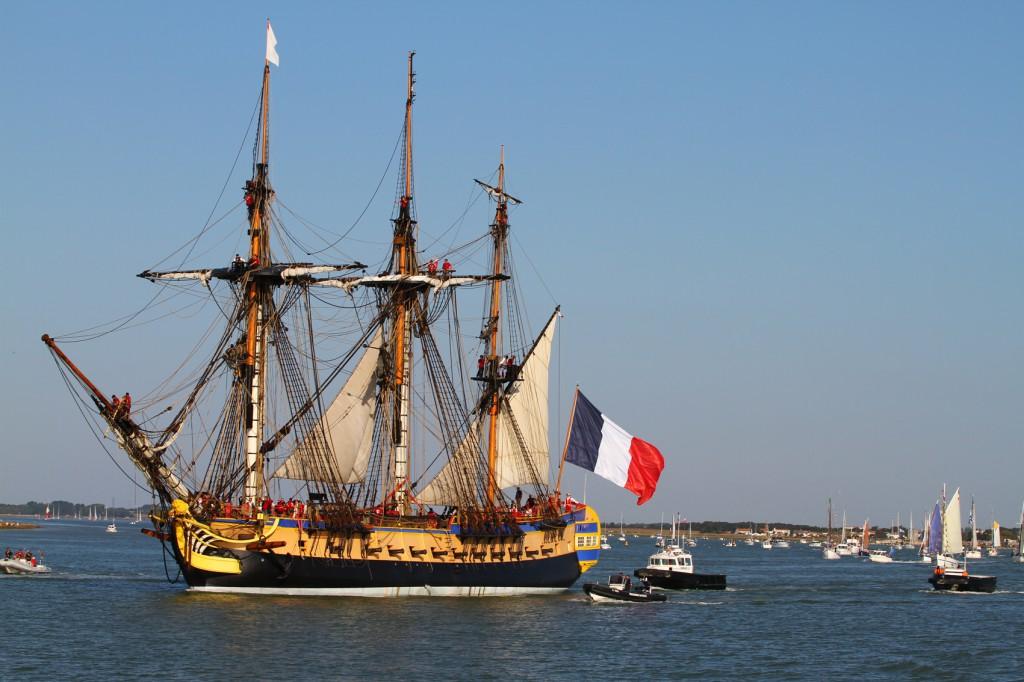 A Hermione replikája: ehhez hasonló hajókkal közlekedtek akkoriban a franciák, és minden más hajósnép is