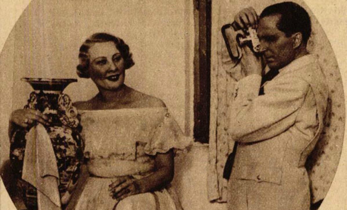 Páger Antal fotografálja Honthy Hannát (Színházi Élet, 1936 33. sz.)