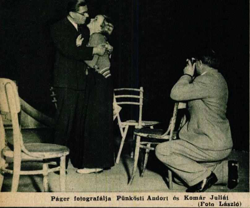 Páger fényképezi Pükösti Andort és feleségét Komár Juliát (Színházi Élet, 1936 39. sz.)