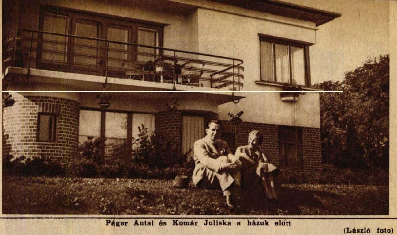 Páger Antal és Komár Juliska a Páger villa előtt 1936-ban (Színházi Élet,1936 42.sz.)