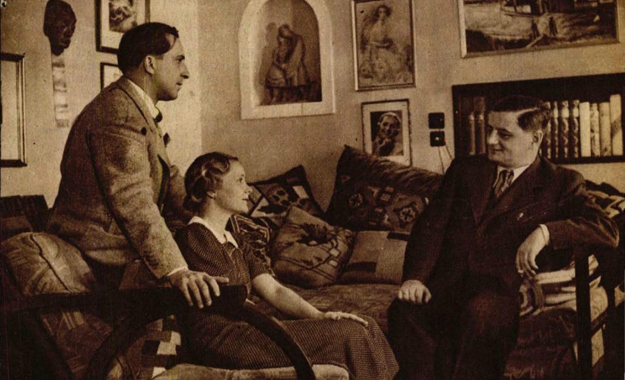 Páger-házaspár és Zsolt Béla a házaspár villájában (Színházi Élet, 1936 42. sz.)