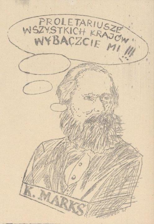 Világ proletárjai, bocsátsatok meg nekem!!! Ellenzéki karikatúra 1980-1981, Forrás: ECS/T/ASP/133