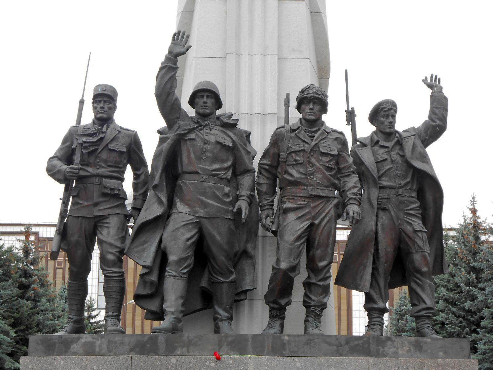 A Hitler-ellenes koalíció résztvevőinek emlékműve a moszkvai, Győzelem Parkban (a szerző felvétele)