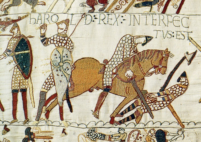 Harold király halála a bayeuxi kárpiton (forrás: Wikipedia)