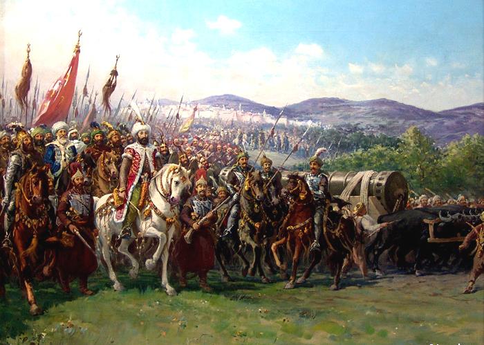 Konstantinápoly ostroma Fausto Zonaro festményén (A kép forrása: Wikipedia)